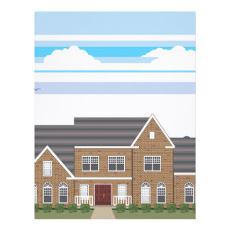 Large Brick house with landscape stylized Letterhead Template