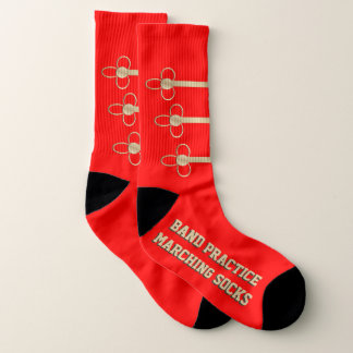 Large Bright Red Band Practice Marching Socks 1
