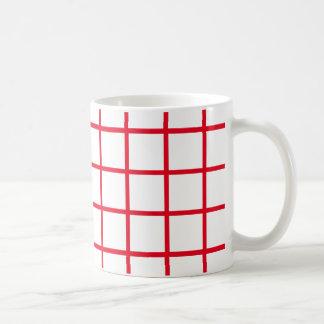 Large Bright Red Lattice Stripes Coffee Mug