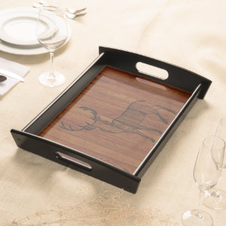 Large Buck carved in wood Effect Service Trays