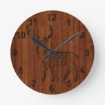 Large Buck carved wood Effect Wall Clocks