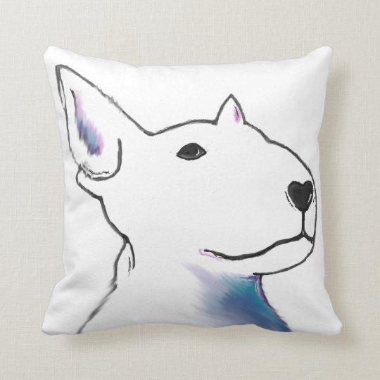 Large Bullterrier face, pop art style bold design Throw Pillow