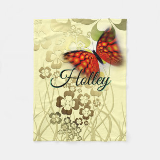 Large Butterfly With Flowers On Tan Personalized Fleece Blanket