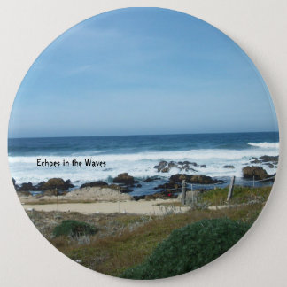 large button with picture of the Pacific ocean.