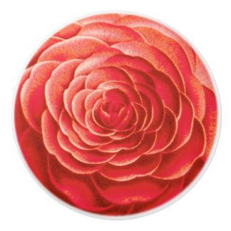 Large Camellia Blossom, Coral Orange Ceramic Knob