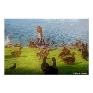 Large canvas duck girl poster