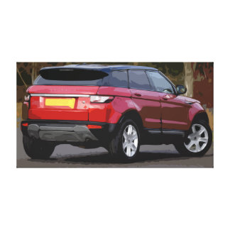 Large Canvas of a Red Small SUV with Simple Design