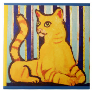 Large Ceramic Photo Tile with Yellow Cat