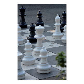 large chessmen on chess field ground, print