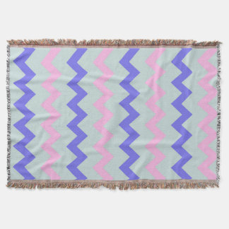 Large chevron pattern pink blue throw blanket