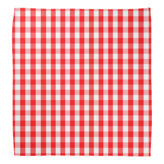 Large Christmas Red and White Gingham Check Plaid Bandana