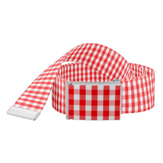 Large Christmas Red and White Gingham Check Plaid Belt