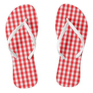 Large Christmas Red and White Gingham Check Plaid Flip Flops