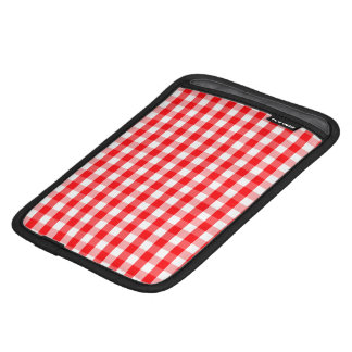 Large Christmas Red and White Gingham Check Plaid iPad Mini Sleeve