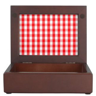 Large Christmas Red and White Gingham Check Plaid Keepsake Box