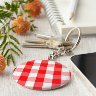 Large Christmas Red and White Gingham Check Plaid Keychain