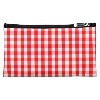 Large Christmas Red and White Gingham Check Plaid Makeup Bag