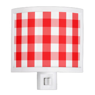 Large Christmas Red and White Gingham Check Plaid Nite Lights