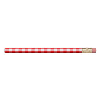Large Christmas Red and White Gingham Check Plaid Pencil