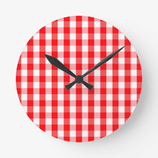 Large Christmas Red and White Gingham Check Plaid Round Clock