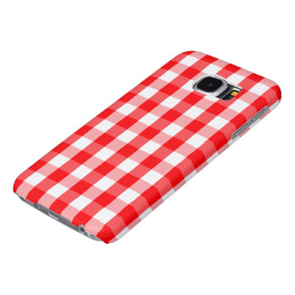 Large Christmas Red and White Gingham Check Plaid Samsung Galaxy S6 Cases