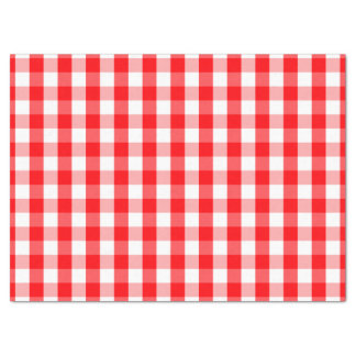 Large Christmas Red and White Gingham Check Plaid Tissue Paper