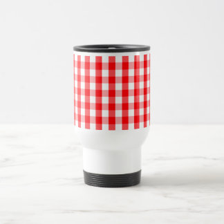 Large Christmas Red and White Gingham Check Plaid Travel Mug