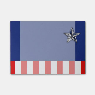 Large Chrome Like Silver Star on Festive Colors Post-it Notes