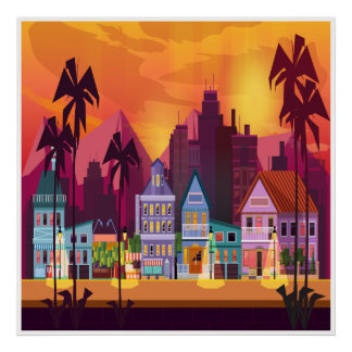 Large City and Town Scene Art Poster