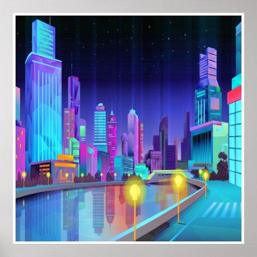 Large City Night Scene Panoramic Art Poster