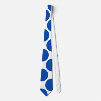 Large Cobalt Polka Dots on White Tie