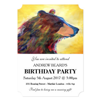 """Large Colorful Abstract Bear Art 5"""" X 7"""" Invitation Card"""