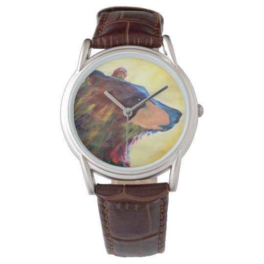Large Colourful Abstract Bear Art Wrist Watch