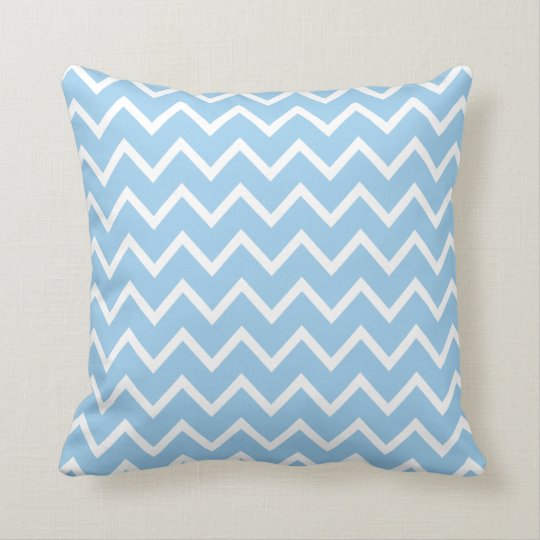 Large Cornflower Blue Chevron Pillow