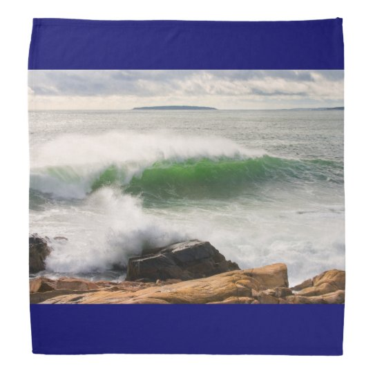 Large Crashing Waves Seascape Acadia National Park Bandanna
