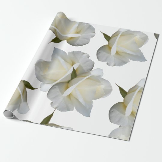 Large Creamy White Rosebuds Wrapping Paper