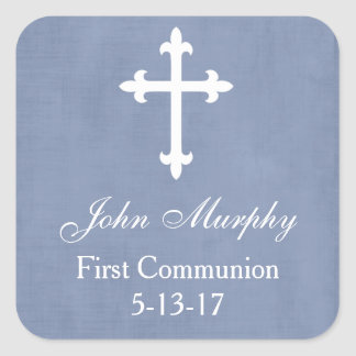 Large Cross Favor Tag, Blue Square Sticker