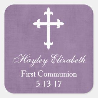 Large Cross Favor Tag, Purple Square Sticker