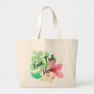 Large custom Beach Tote - Palm leaves and flower