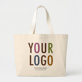 Large Custom Cotton Tote Bag with Logo No Minimum