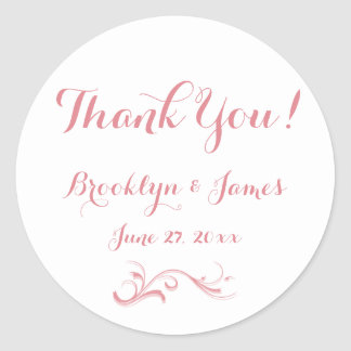 Large Custom Thank You White Pink Wedding Stickers