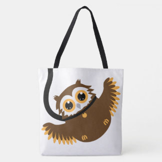 Large - Cute Clever Pet Owl On Leash Tote Bag