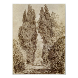 Large Cypresses at the Villa d'Este Poster
