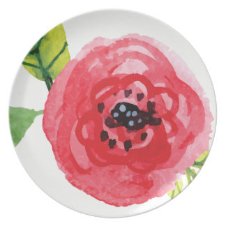 Large Dark Pink Watercolor Flower | Melamine Plate
