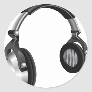 Large DJ Headphones Round Sticker