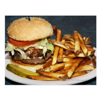 large double half pound burger fries and cola postcard