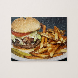large double half pound burger fries and cola puzzles