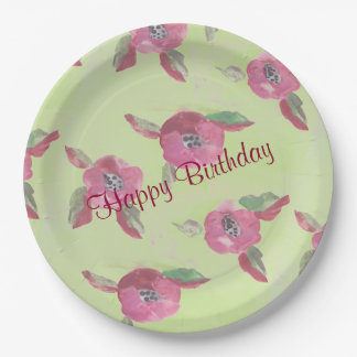 Large Fancy Watercolor Designer Paper Plate 9 Inch Paper Plate