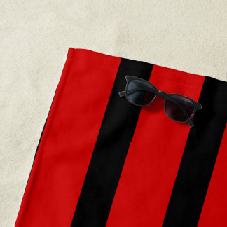 large fashion black & red stripes monogrammed beach towel