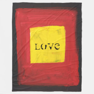 large Fleece Blanke Black, Red, and Yellow.